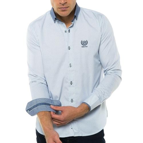 Chemise à pois bleus