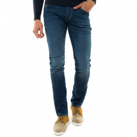 Pantalon slim maille aspect denim