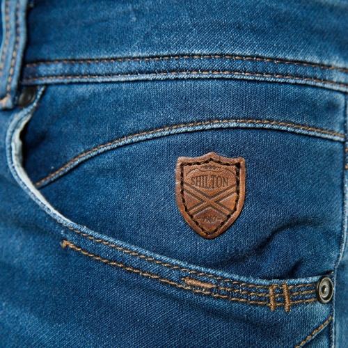 Pantalon slim maille aspect denim