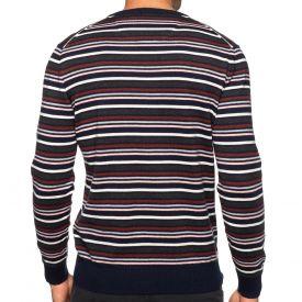 Pull col V rayé coton laine