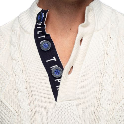 Pull grosse maille col boutons