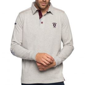 Polo rugby jersey gris chiné