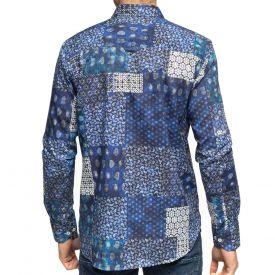 Chemise patchwork bleu
