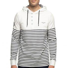 T-shirt blanc capuche marinière