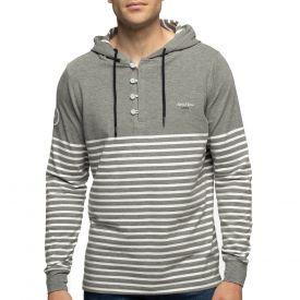 T-shirt capuche marinière gris
