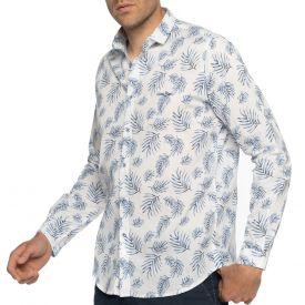 Chemise palm print blanc